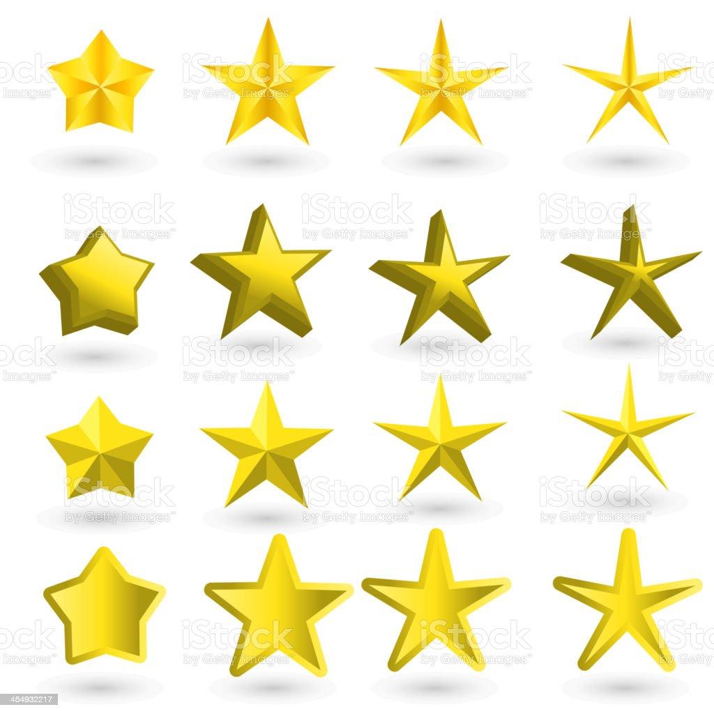 Gold star on the light background vector art illustration