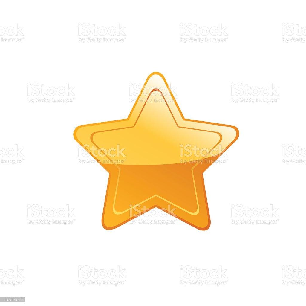 Gold star on white background. Vector vector art illustration