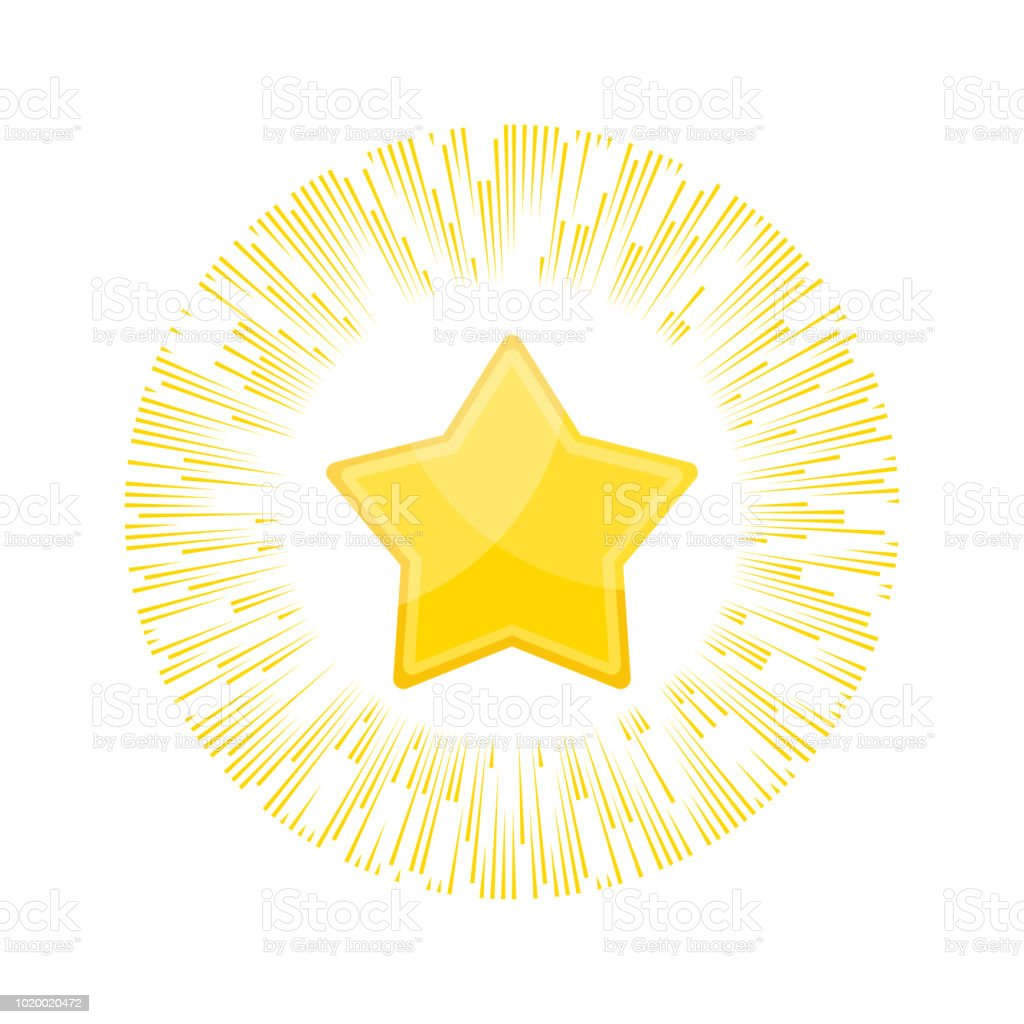 Gold Star Rating In Rays Of Glory Appreciation And Recognition Stock