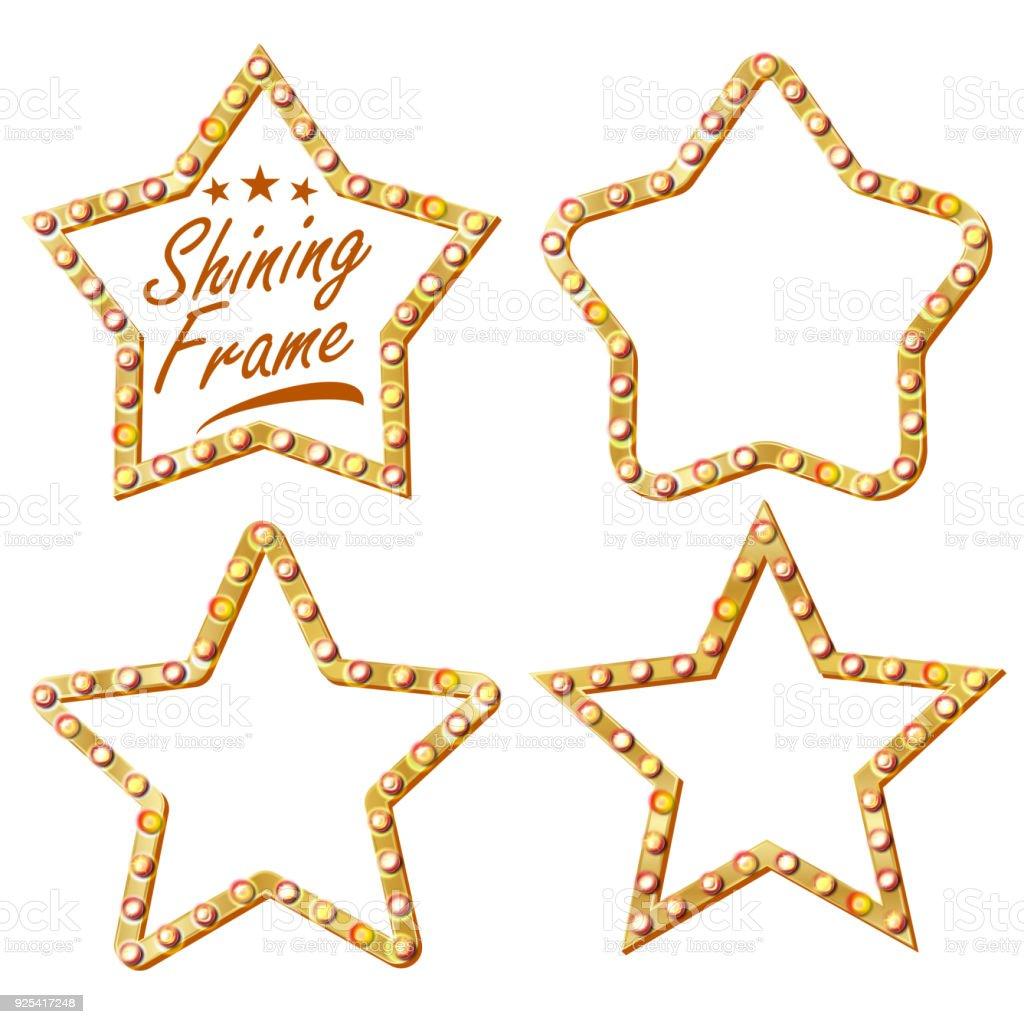 Gold Star Set Vector Vintage Glanz Lampe Sterne Rahmen 3d Glühende ...
