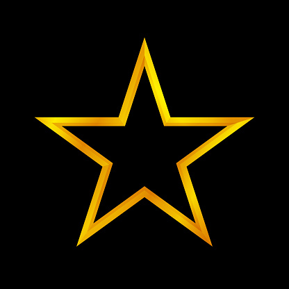 gold star shape isolated on black background, golden star icon, gold star logo, image of golden star symbol for graphic element of decorate embellish design