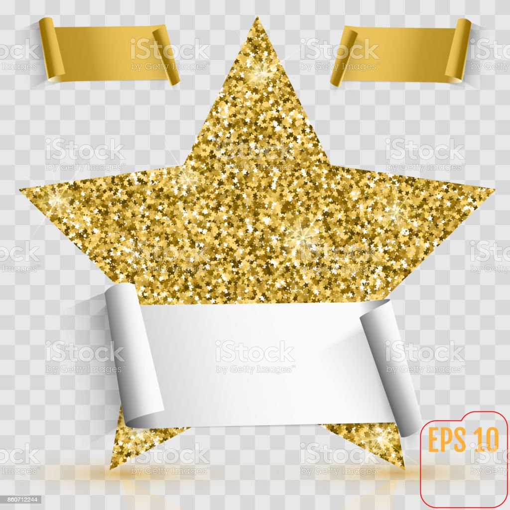 Gold Star Vector Banner Gold Glitter Template Card Vip Exclusive