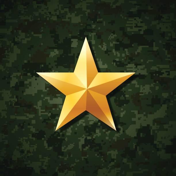 ilustrações, clipart, desenhos animados e ícones de gold estrela  - forças armadas