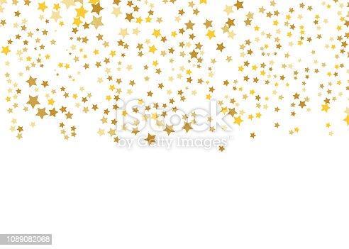 Gold Star Vector. Shine confetti pattern. Falling shiny stars. Golden Starry print. Simple design. Eps10.