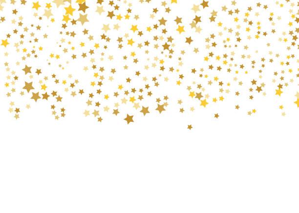 Gold Star Vector. Shine confetti pattern. Falling shiny stars. Golden Starry print. Simple design. Eps10. Gold Star Vector. Shine confetti pattern. Falling shiny stars. Golden Starry print. Simple design. Eps10. stars stock illustrations
