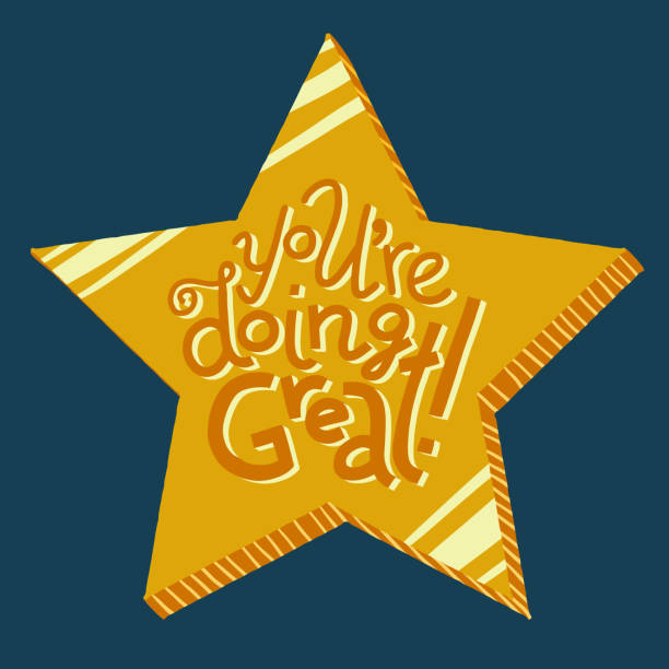 Gold star You're Doing Great lettering card Colorful vector hand-drawn lettering of words You're Doing Great. Greeting card encouragement sentiment. Gold star on dark background. Student award idea. you re awesome stock illustrations