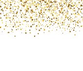 Gold starfall on white background. Abstract background.