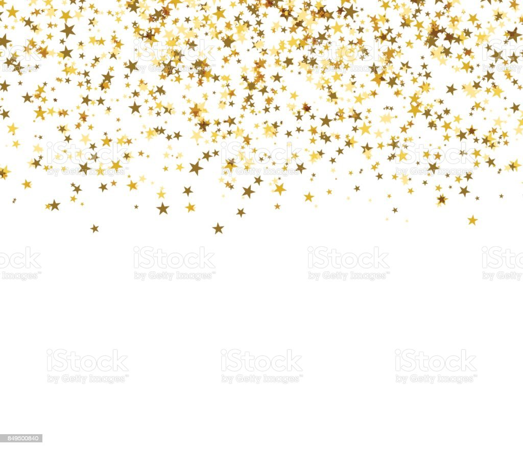 Gold starfall on white background. Abstract background. vector art illustration