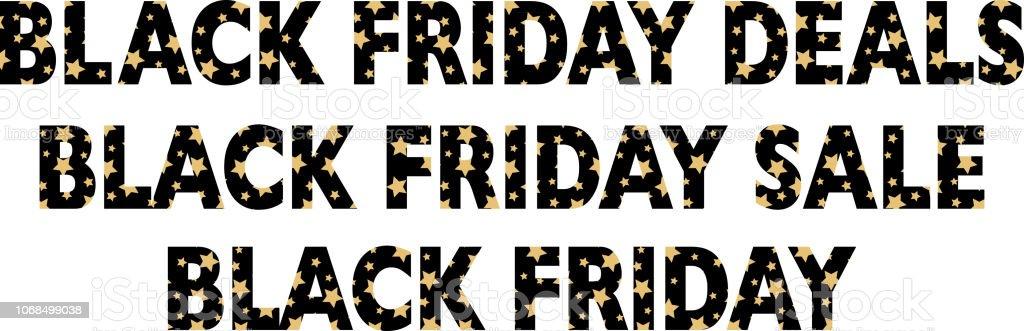 Gold Stars Banners de viernes negro - arte vectorial de Acontecimiento libre de derechos