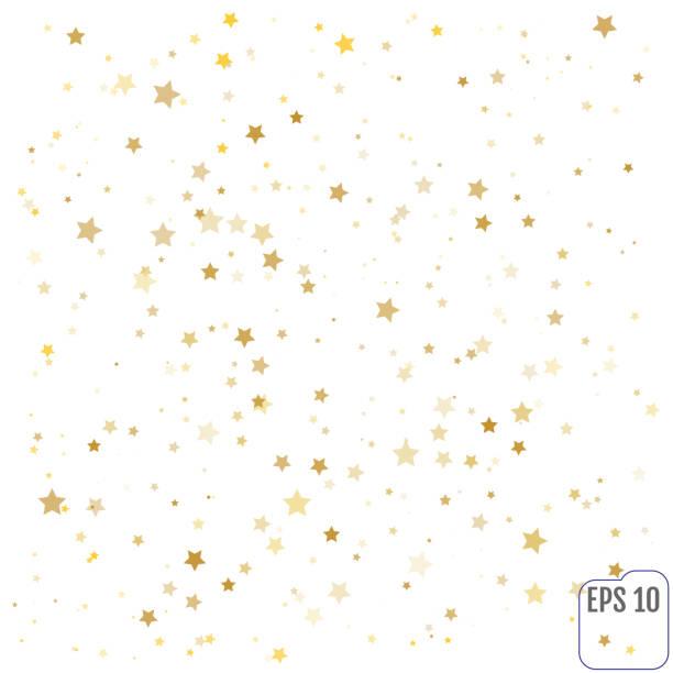 illustrations, cliparts, dessins animés et icônes de gold stars. confetti celebration, - forme étoilée