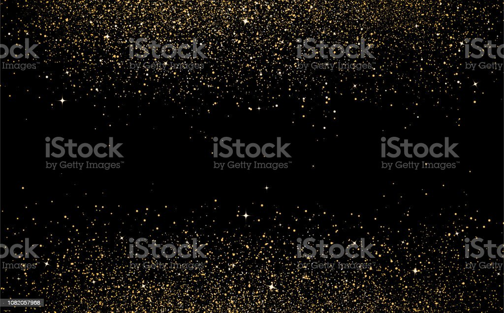 Gold stars dots scatter texture confetti in galaxy and space abstract background vector illustration - arte vettoriale royalty-free di A forma di stella