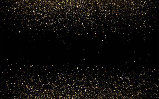 złote gwiazdki kropki rozpraszają konfetti tekstury w galaktyce i kosmicznej abstrakcyjnej ilustracji wektorowej tła - migoczący stock illustrations