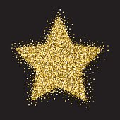 An original artwork vector illustration of a gold stars glitter - manually created. This gold glitter Star Ornament can be use for your design - postcard, invitation, poster or flyer.