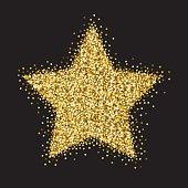 Gold Stars Glitter Big Star Ornament