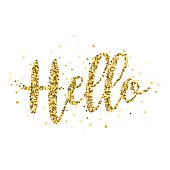 An original artwork vector illustration of a gold stars glitter - manually created.This gold glitter Hello Message can be use for your design - postcard, invitation, poster or flyer.