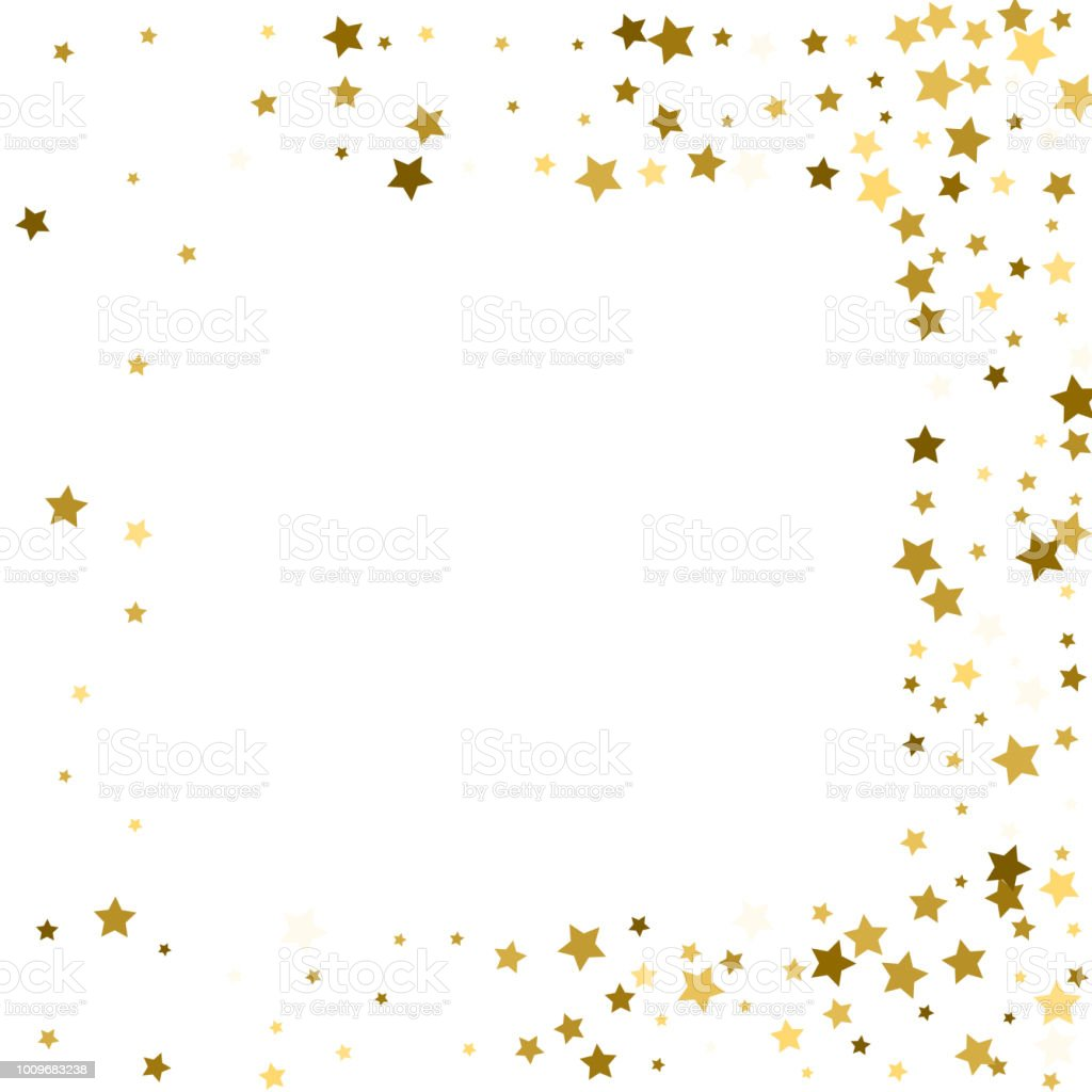 Gold stars on a white background. Vector IIlustration. Golden stars on a white square background. Template for holiday designs, invitation, party, birthday, wedding. vector art illustration