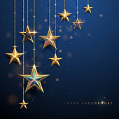 Gold stars on blue background in vector