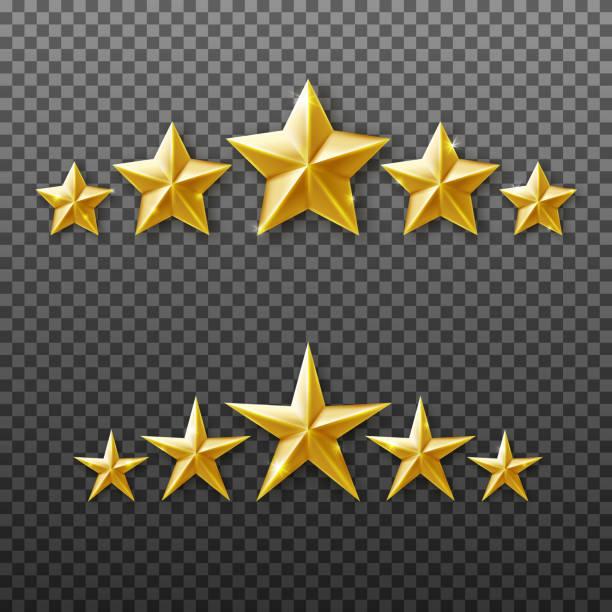 5 złotych gwiazdek zestaw izolowanych na przezroczystym tle - kształt gwiazdy stock illustrations