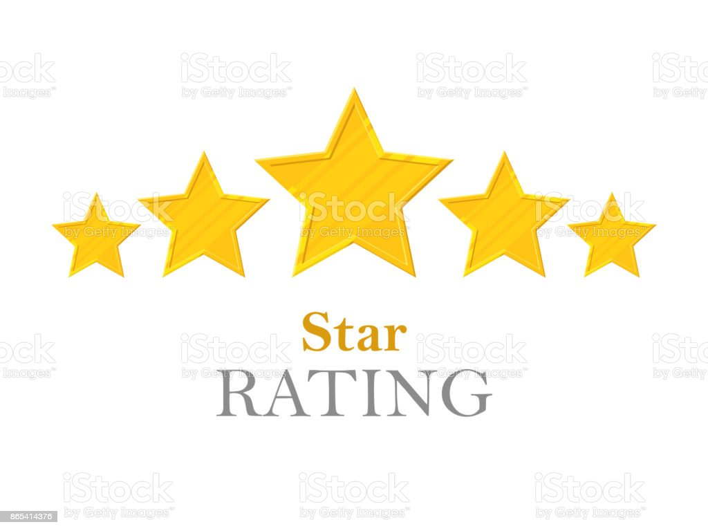 Gold stars rating vector art illustration