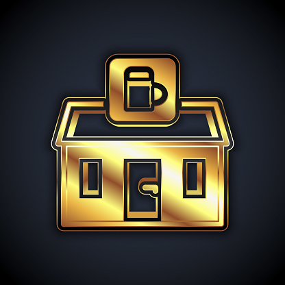 Gold Store building of beer shop icon isolated on black background. Brewery sign. Vector