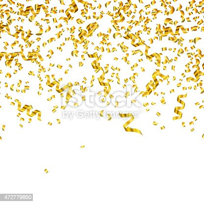 gold confetti falling gold streamers and confetti falling from the top stock 9220