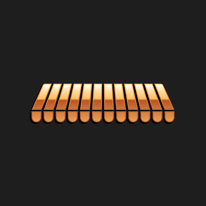 Gold Striped awning icon isolated on black background. Outdoor sunshade sign. Awning canopy for shops, cafes and street restaurants. Long shadow style. Vector