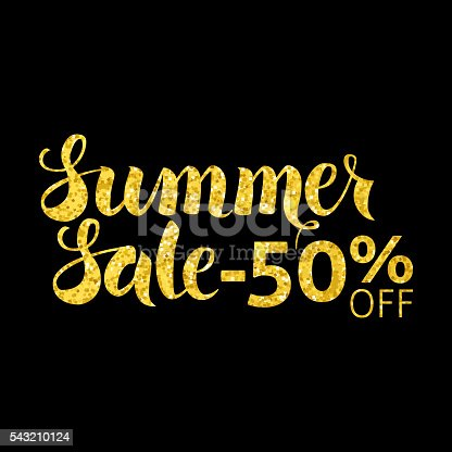 Gold Summer Sale 50 Off Lettering over Black. Vector Illustration of Golden Calligraphy Text with Glitter.