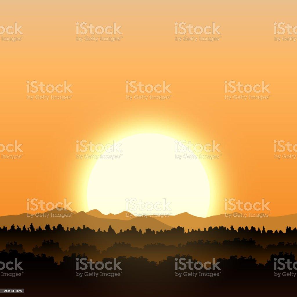 Gold sunset royalty-free stock vector art