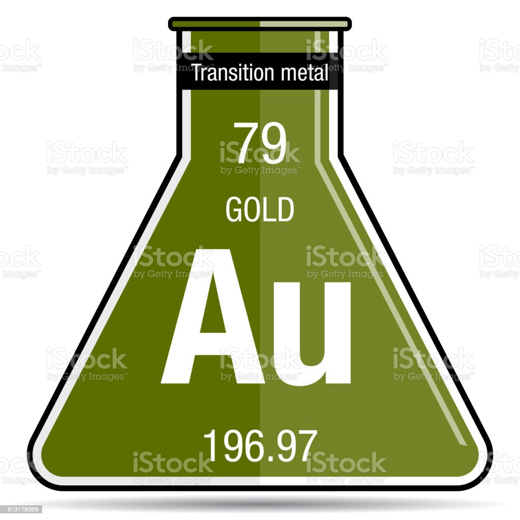 Gold Symbol On Chemical Flask Element Number 79 Of The Periodic