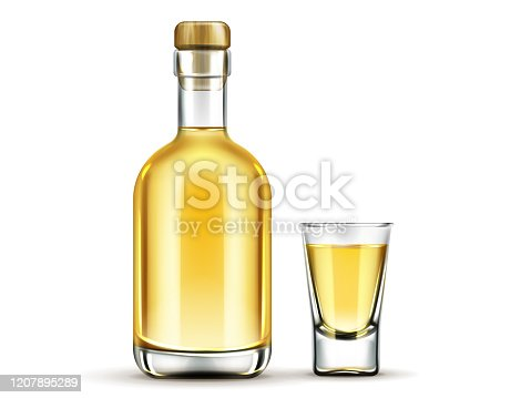Tequila bottle and shot glass with gold liquid mock up, mexican alcohol drink flask with cork isolated on white background, design elements for advertising. Realistic 3d vector illustration, clip art