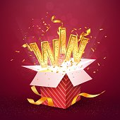 WIN gold text flies out of the red gift box Isolated open textured red box with confetti explosion inside and golden win word Flying particles from giftbox vector illustration on red background