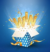 WIN gold text. Open textured blue box with confetti explosion inside and golden win word Flying particles from giftbox vector illustration on white background