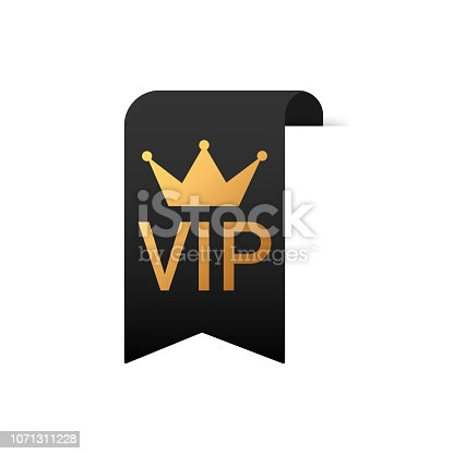 Gold text VIP on Black ribbon on white background. Vector stock illustration.