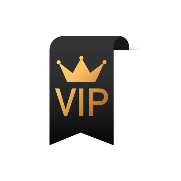 Gold text VIP on Black ribbon on white background. Gold text VIP on Black ribbon on white background. Vector stock illustration. passing giving stock illustrations
