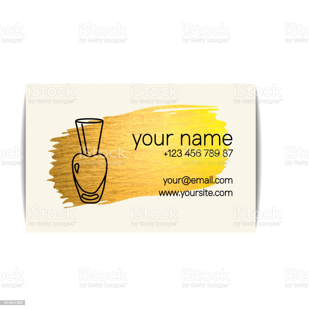 Gold Texture Nail Art Buisness Card Stock Vector Art More Images