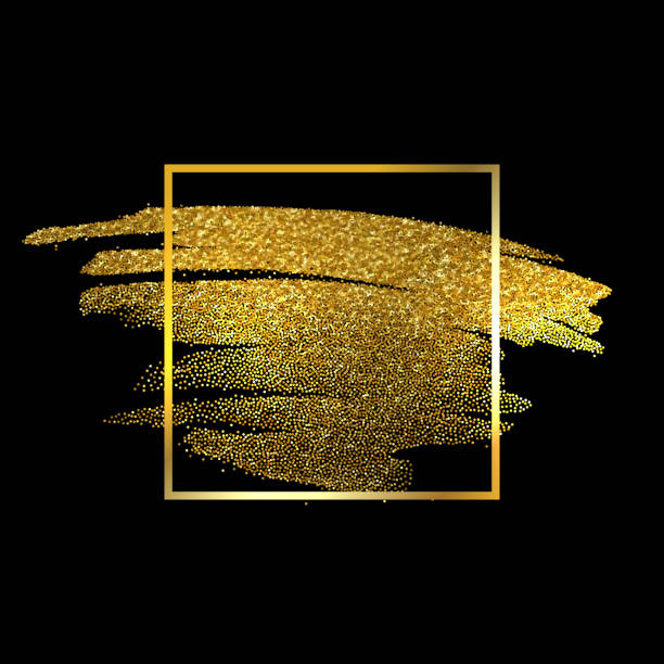 Gold Texture Paint Stain Illustration. Hand drawn brush stroke vector vector art illustration
