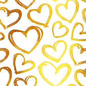 Handmade love card design with shapes of hearts in shades of gold.  Original small round shapes arranged unevenly across the entire surface of the white paper card.   Seamless pattern - duplicate it vertically and horizontally to get unlimited area without visible connections. Zoom to see the details! VECTOR FILE. Great material for your design with unique textured effect.