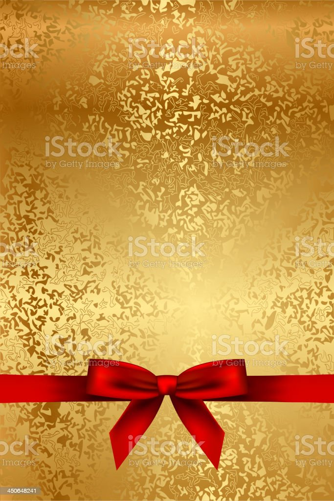 Gold texture with red bow vector art illustration