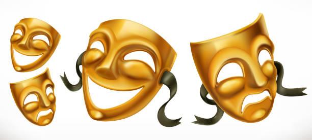 bildbanksillustrationer, clip art samt tecknat material och ikoner med guld teatraliska masker. komedi och tragedi 3d vektor symbol - face mask