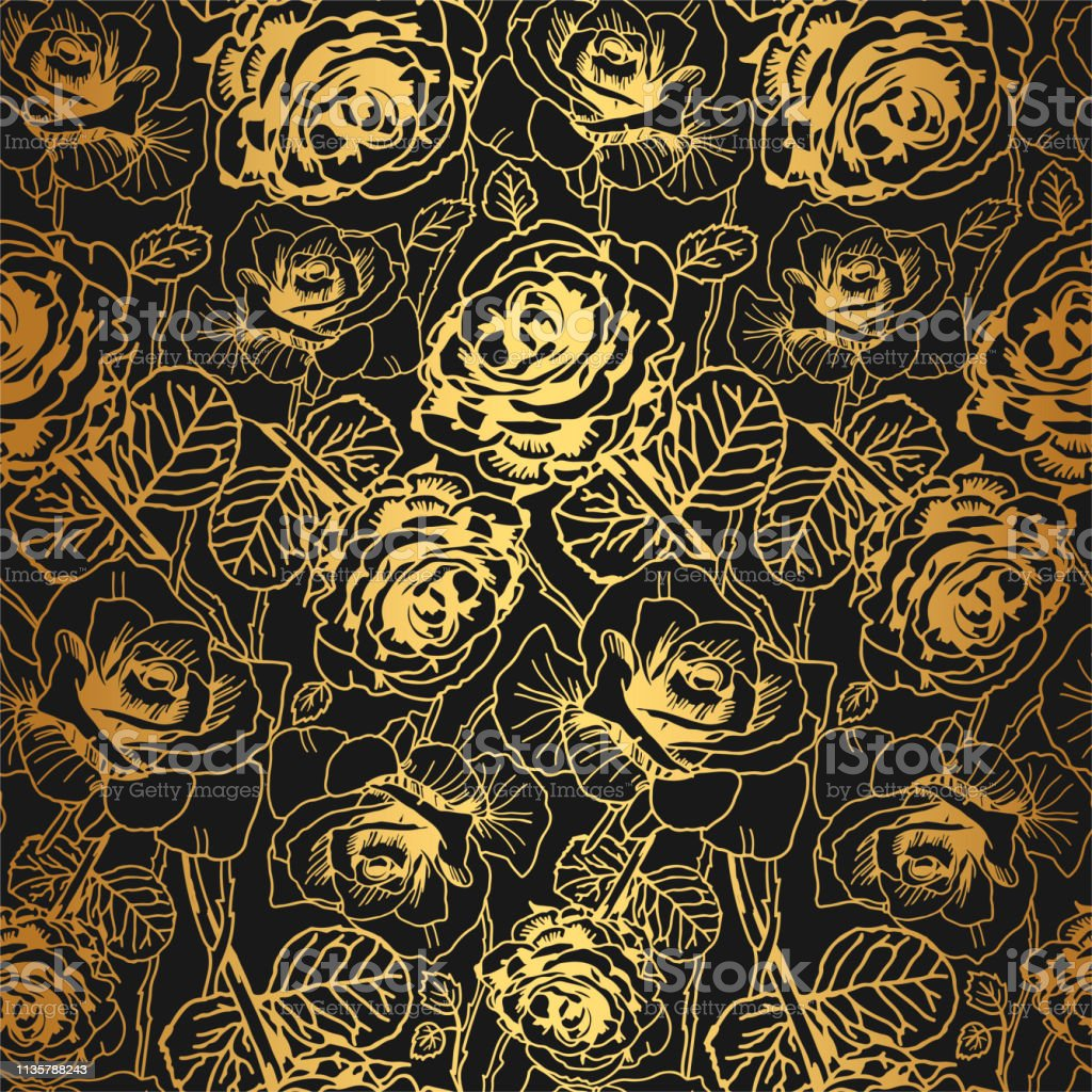 e0f166568cc3 Gold thin lined roses pattern. Seamless vector flowers background. Golden  texture. Shiny gold metallic floral wallpaper - Illustration .