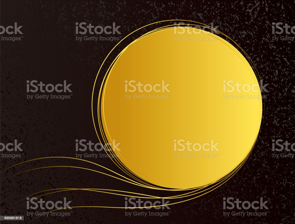 Gold thread and black background material vector art illustration