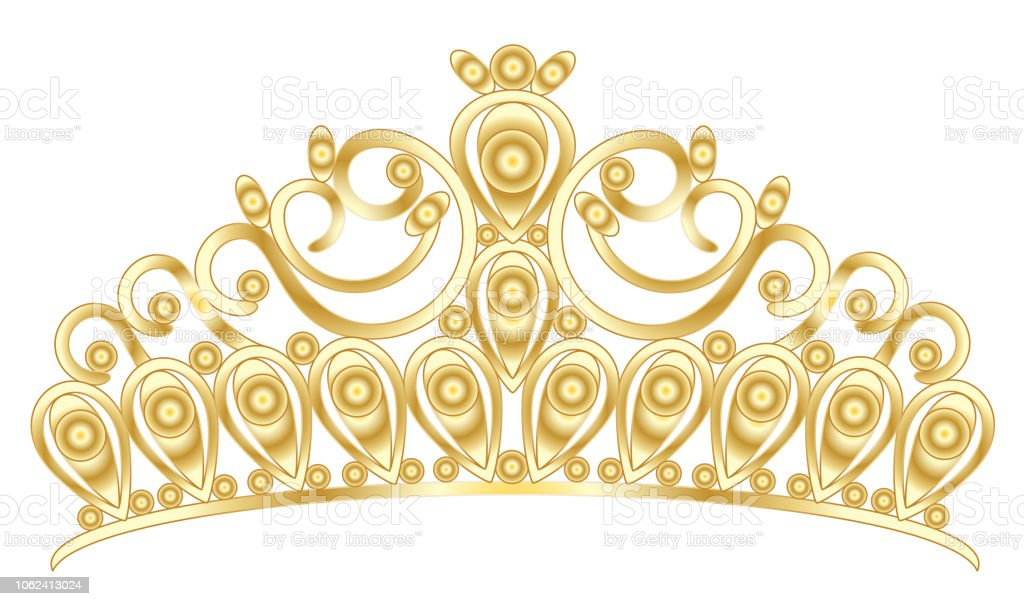 Goldene Tiara Krone Frauen Hochzeit Mit Steinen Stock Vektor