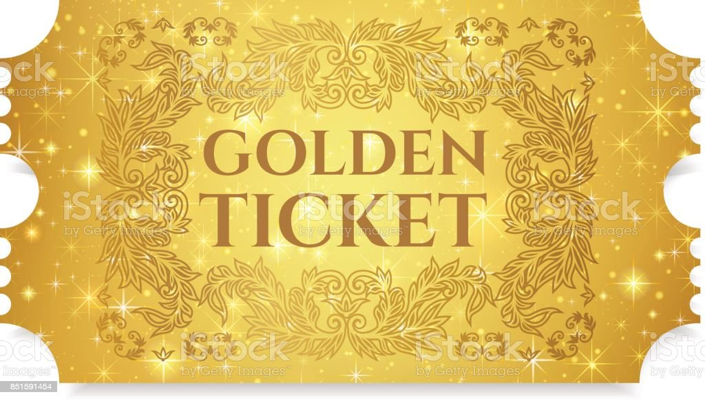 Gold ticket, golden token (tear-off ticket, coupon) with star magical background vector art illustration