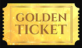 Gold ticket, golden token (tear-off ticket, coupon) with star magical background