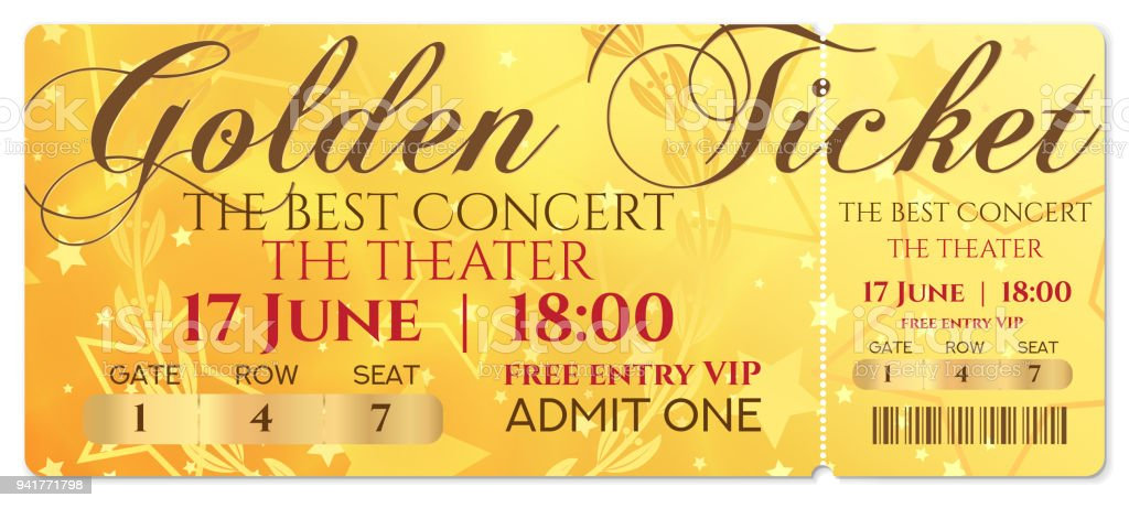 Gold ticket, golden token (tear-off ticket, coupon) with star magical background. vector art illustration