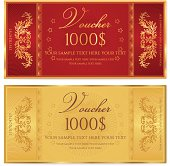 Gold ticket, Voucher, Gift certificate, Coupon template with floral border. Background design for invitation, banknote, money design, currency, check (cheque). Vector in gold, red (maroon) colors