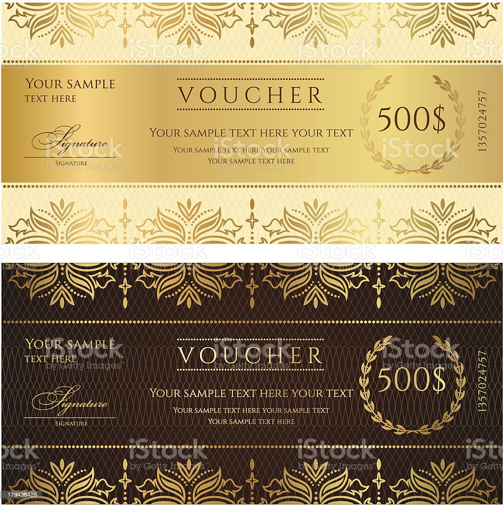 Gold ticket, Voucher, Gift certificate, Coupon template with floral border vector art illustration