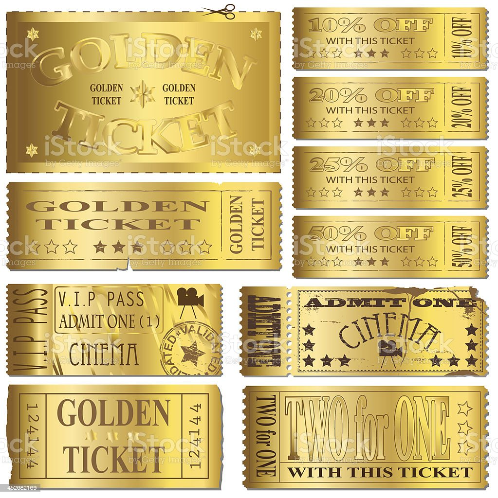 Gold Tickets vector art illustration