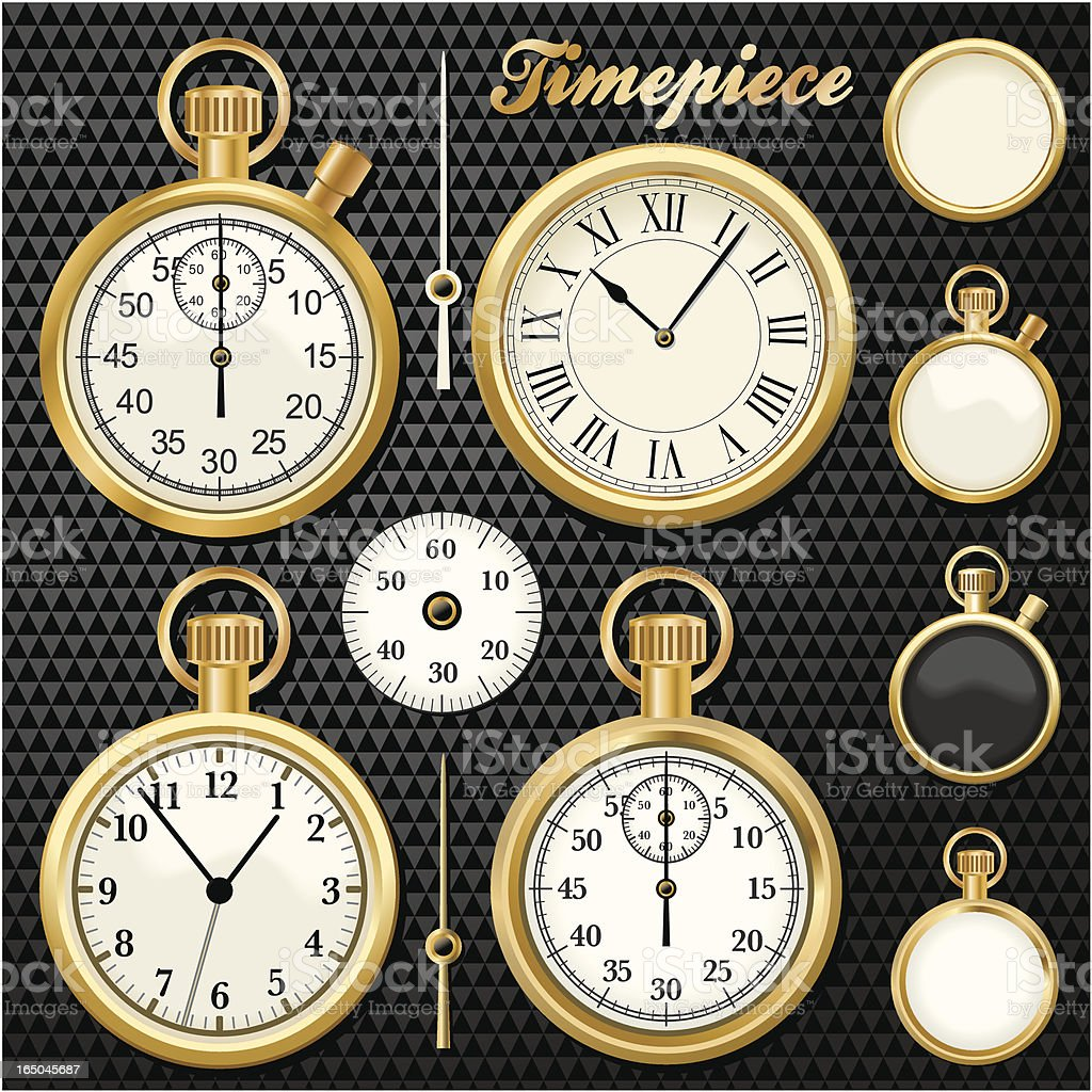 Gold Timepiece vector art illustration