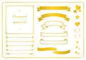 ゴールドタイトルリボン、ラインフレームセット(装飾、装飾)